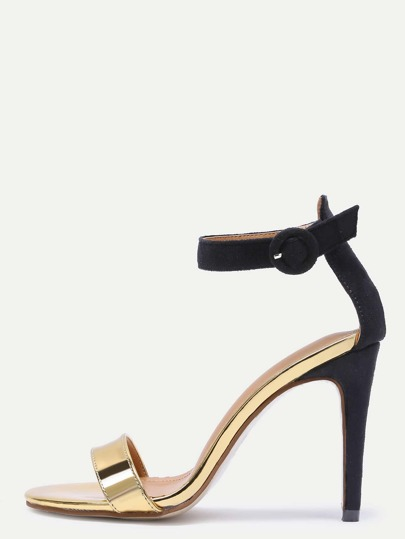 PU and Suede Open Toe Ankle Strap Stiletto Sandals