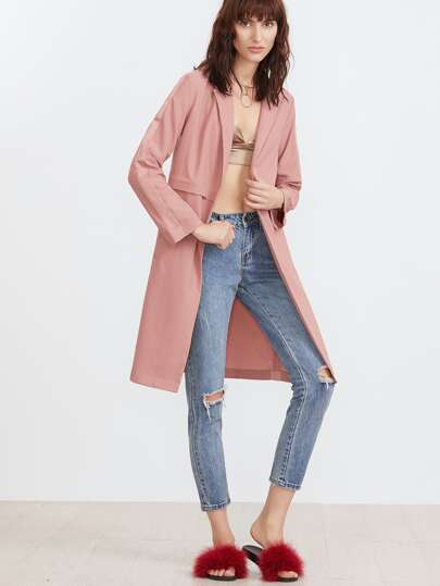 Pink Notch Collar Open Front Paneled Coat
