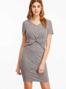 Grey Marled V Neck Twist Waist Dress