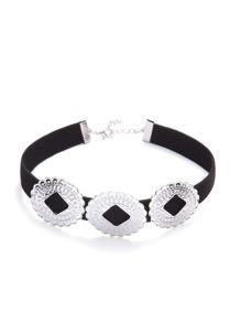 Black Rounds Embellished Suede Choker