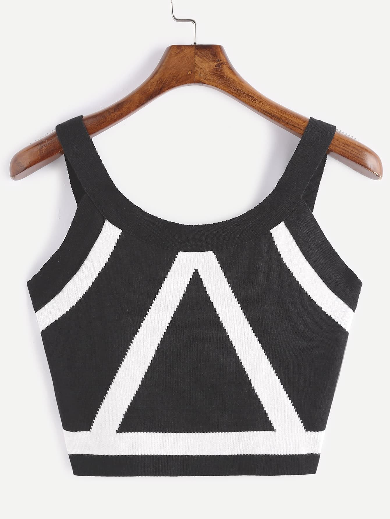 Contrast Trim Crop Knit Tank Top vest161228101