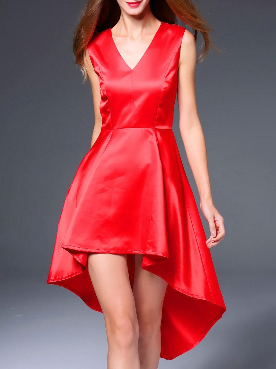 Фото Red V Neck High Low Dress. Купить с доставкой