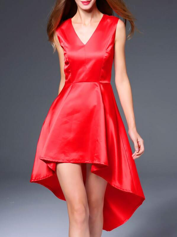 Red V Neck High Low Dress, null