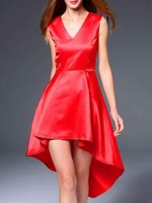 Red V Neck High Low Dress