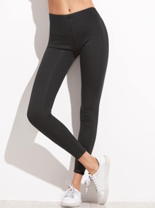 Black Elastic Waist Ankle Leggings