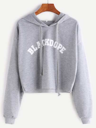 Grey Hooded Letter Print Raw Hem Crop Sweatshirt