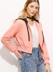 Pink Contrast Hood Zip Up Crop Jacket