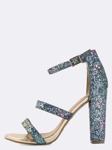 Triple Strap Glitter Chunky Heels BLUE