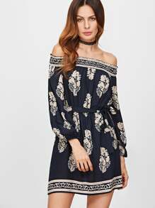Printed Off Shoulder Belted Dress