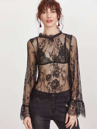 Buttoned Keyhole Back Sheer Floral Lace Top