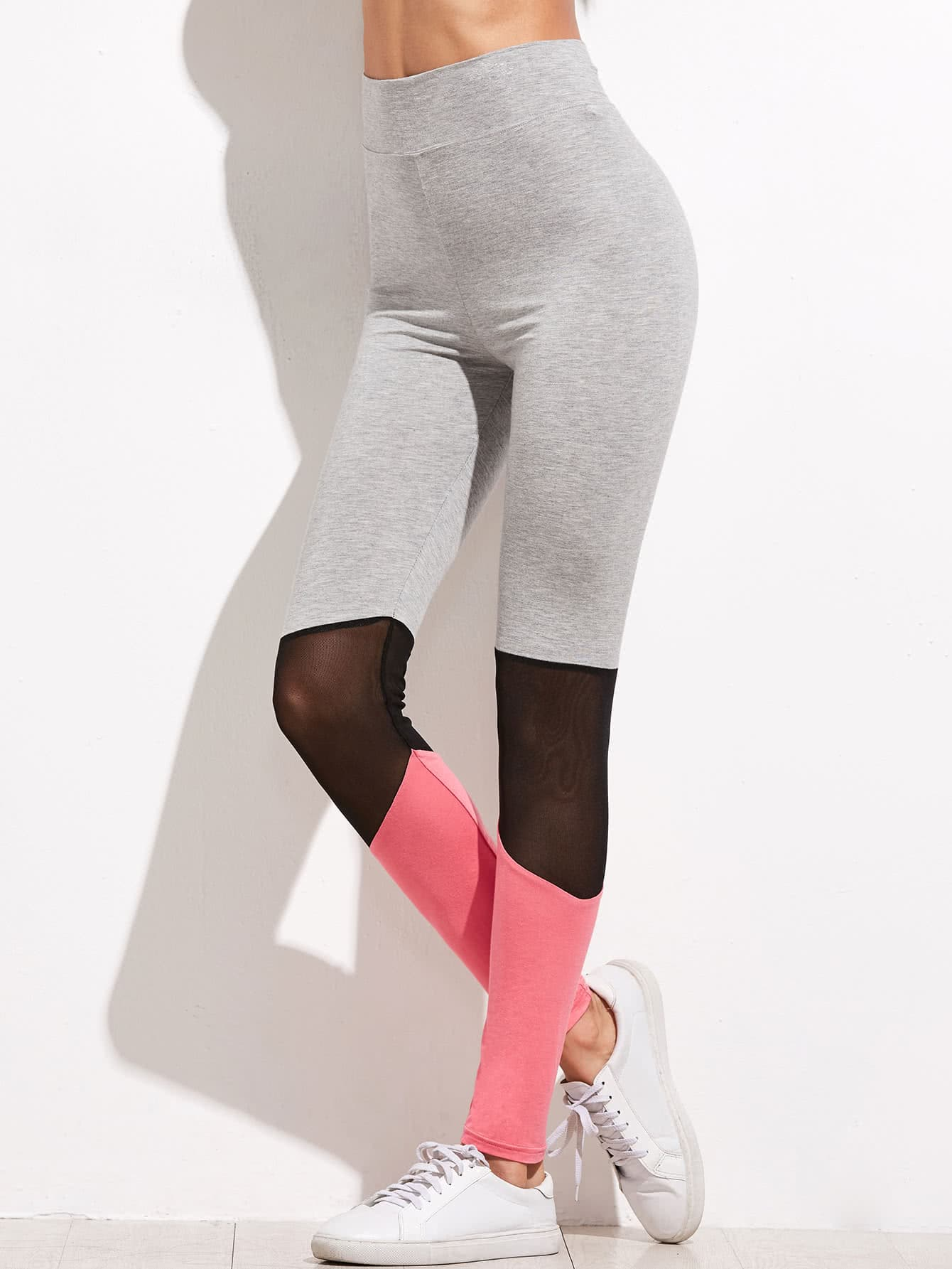 Color Block Mesh Insert High Waist Leggings leggings161201704