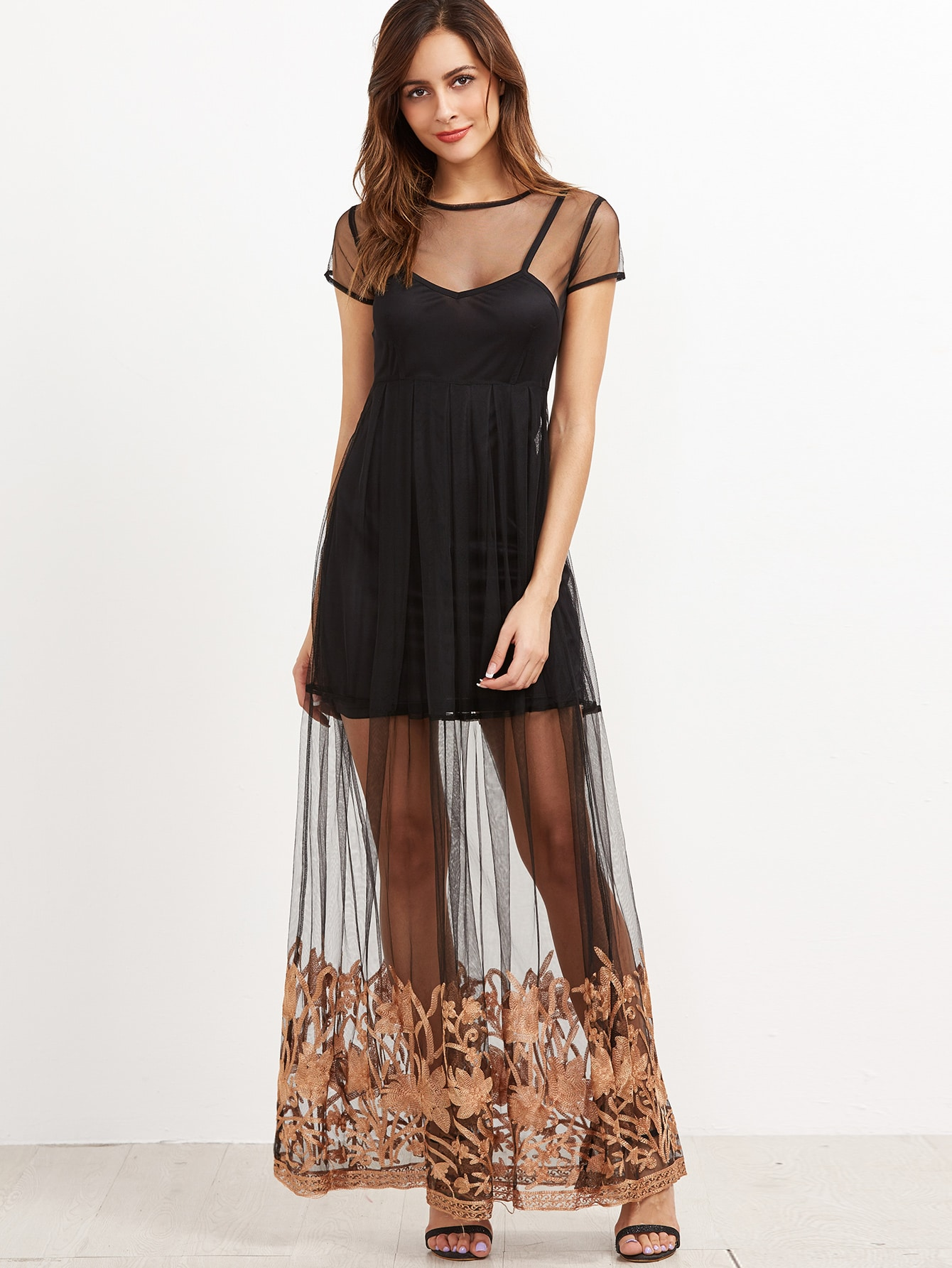 Black Embroidered Tape Sheer Dress With CamiBlack Embroidered Tape Sheer Dress With Cami<br><br>color: Black<br>size: L,M,S
