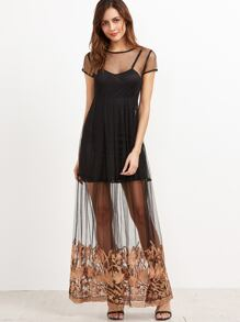 Black Embroidered Tape Sheer Dress With Cami
