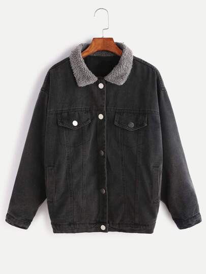 Black Contrast Collar Single Breasted Denim Jacket