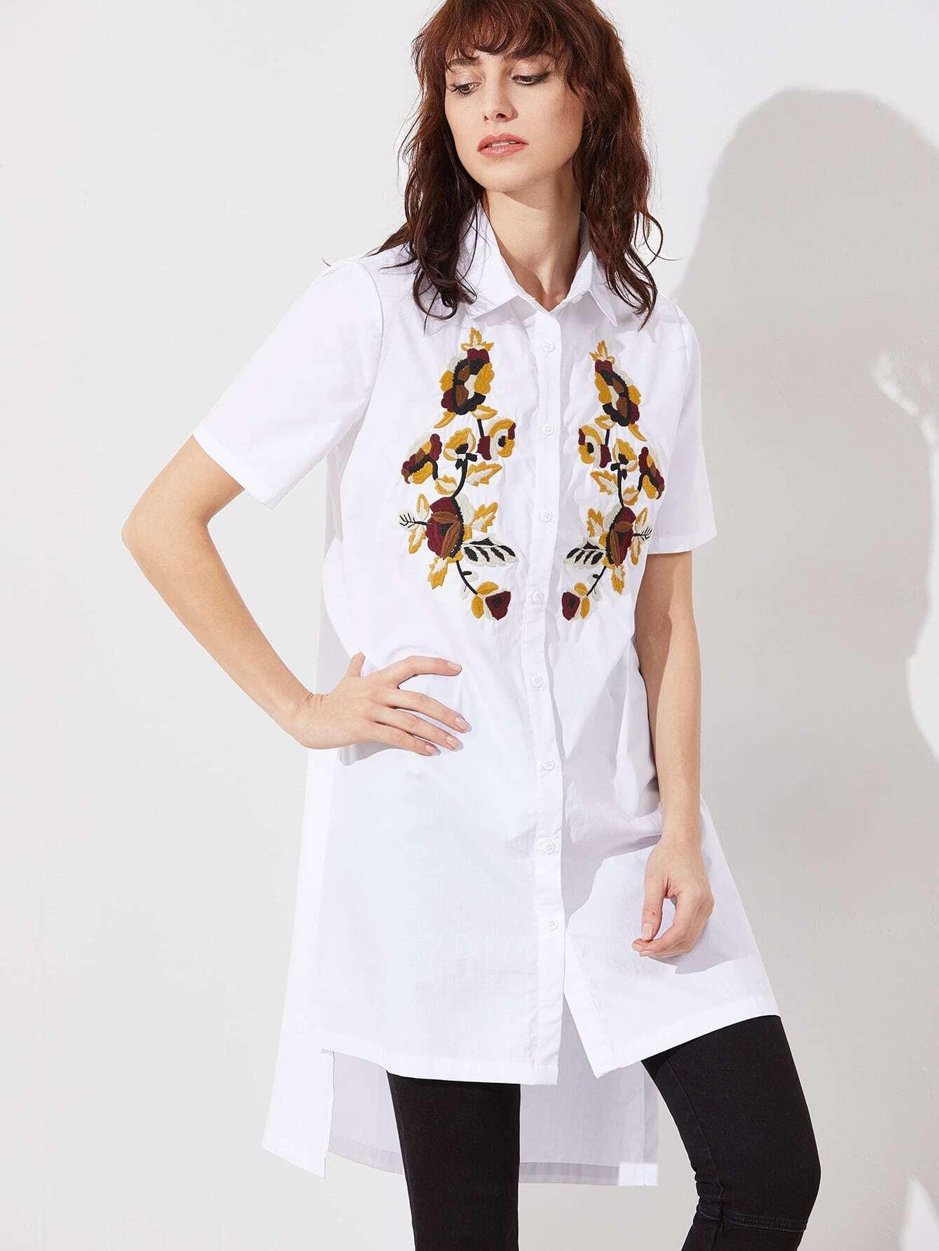 Фото White Side Slit High Low Embroidered Blouse. Купить с доставкой