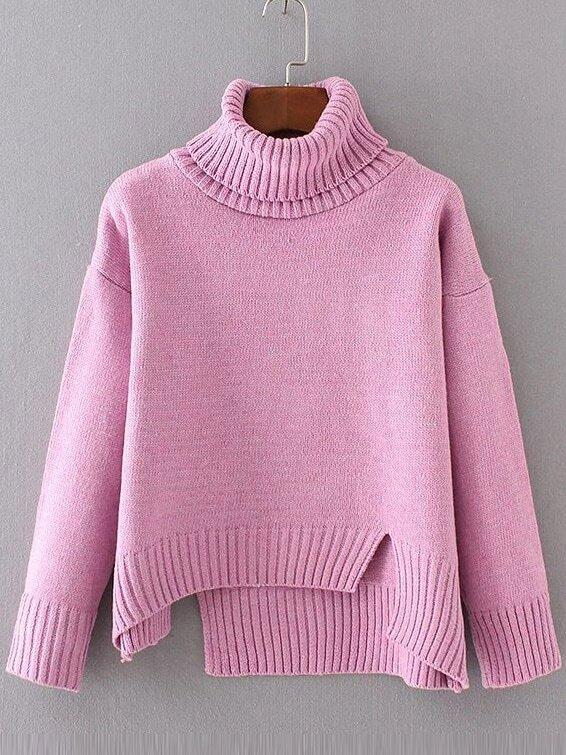Pink Ribbed Trim Turtleneck Asymmetrical Sweater sweater161202204