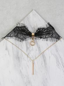 Eyelash Lace Layered Choker BLACK