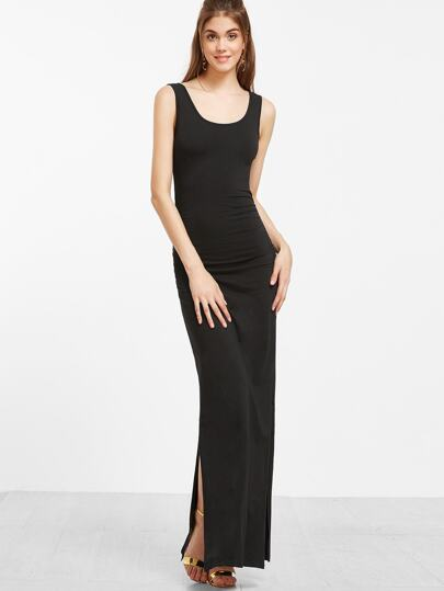 Black Scoop Neck Sleeveless Maxi Slit Dress