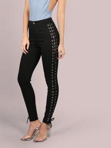 High Waisted Laced Side Skinnies BLACK