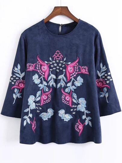 Floral Embroidered Keyhole Back Suede Blouse