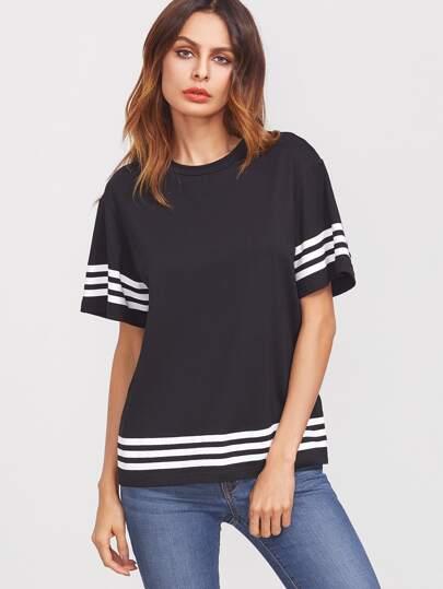 T-Shirt Rifilato A Strisce Spalle Cascanti - Nero