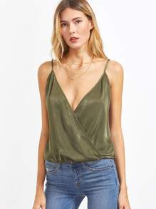 Olive Green Surplice Front Cami Top