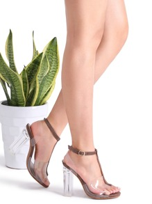 Sandalias con tira T con punta abierta - marrón