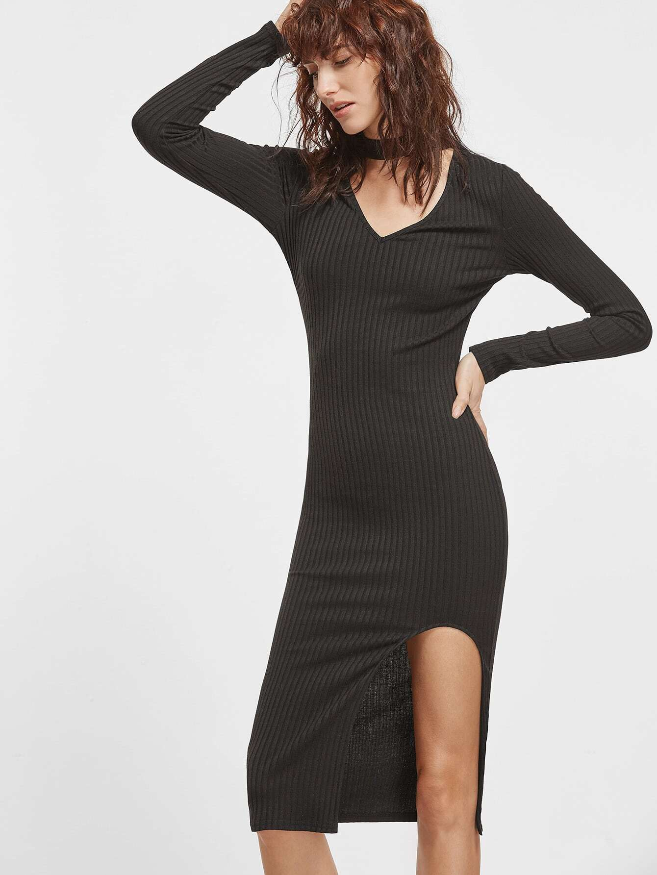 Black Cutout Choker Neck Split Front Ribbed Pencil Dress dress161202725