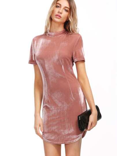 Pink Mock Neck Velvet Bodycon Dress