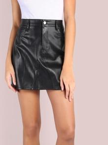 Faux Leather Waist Mini Skirt BLACK