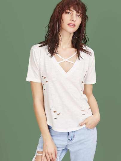 Crisscross V Cut Distressed Slub T-shirt