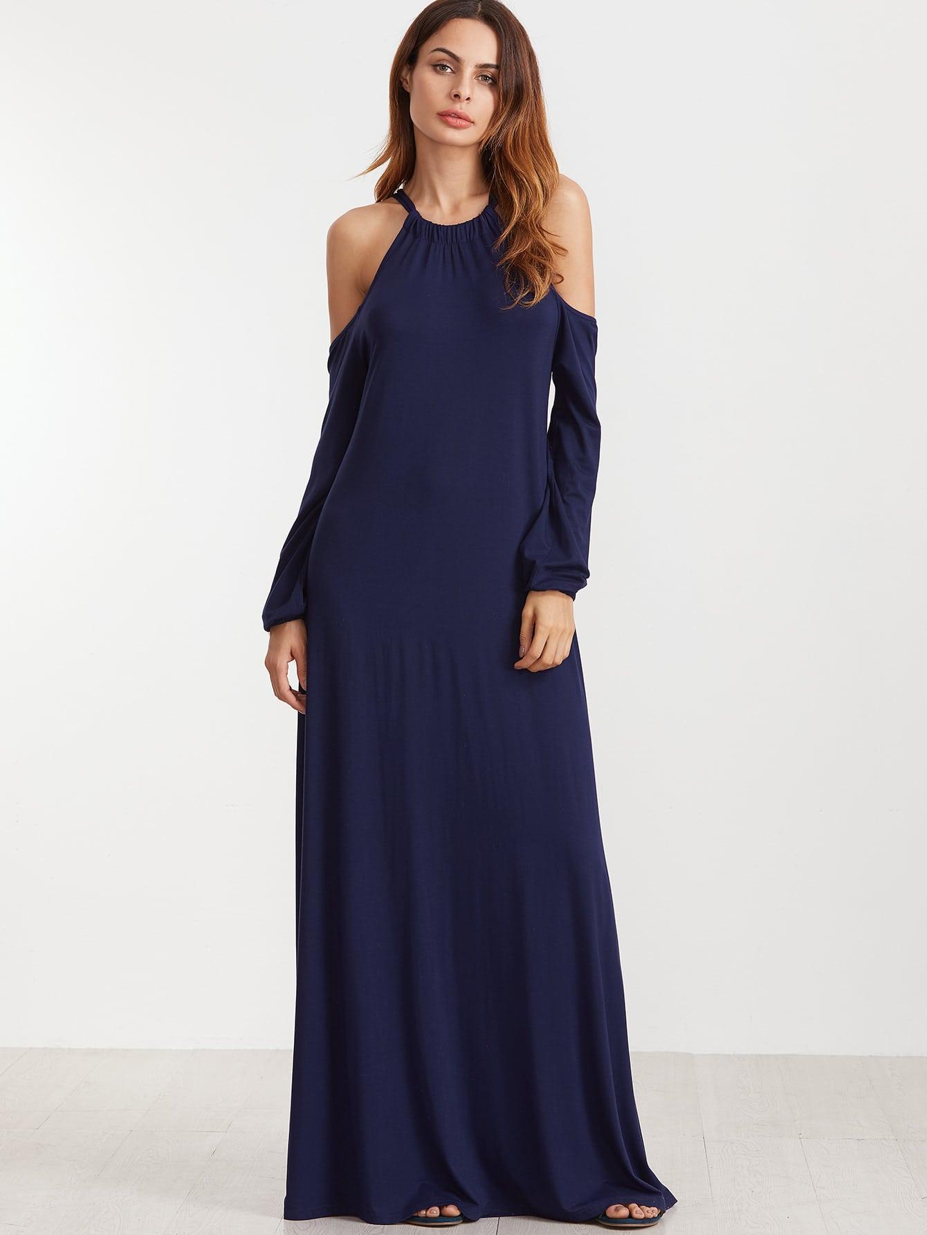 Navy Cold Shoulder Lantern Sleeve Maxi Dress