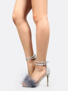 Embossed Snake Feather Stilettos GREY