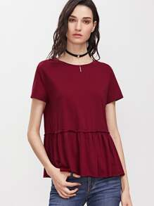 Burgundy Short Sleeve Ruffle Hem T-shirt