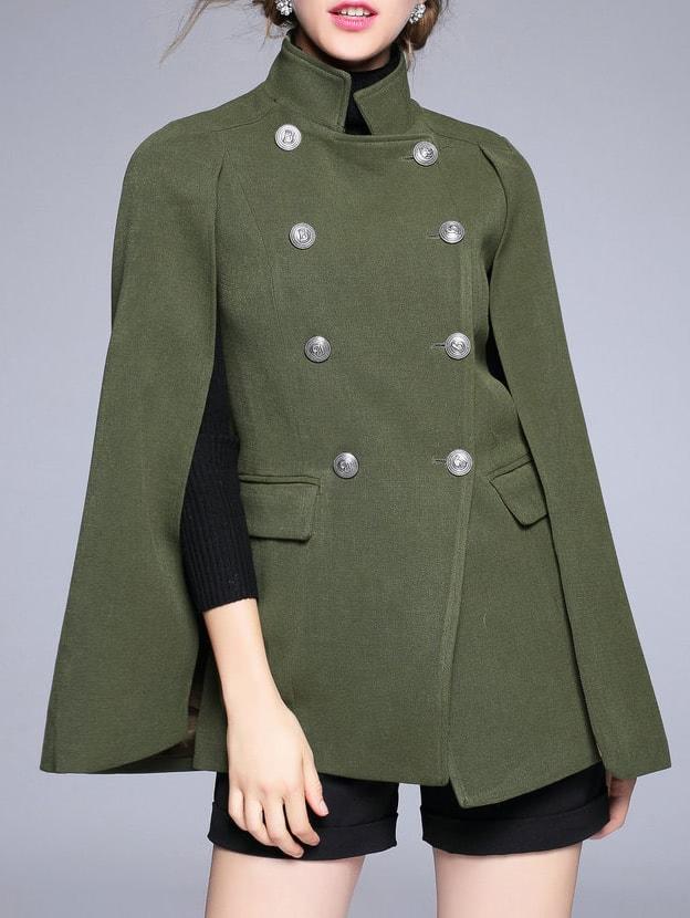 Фото Green Collar Split Sleeve Cape Coat. Купить с доставкой