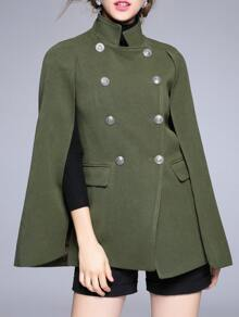 Green Collar Split Sleeve Cape Coat