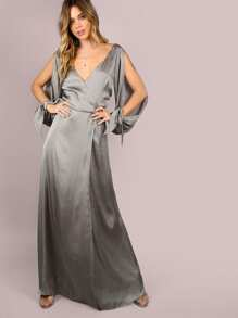 Wrap Over Slit Sleeve Satin Maxi Dress GUNMETAL
