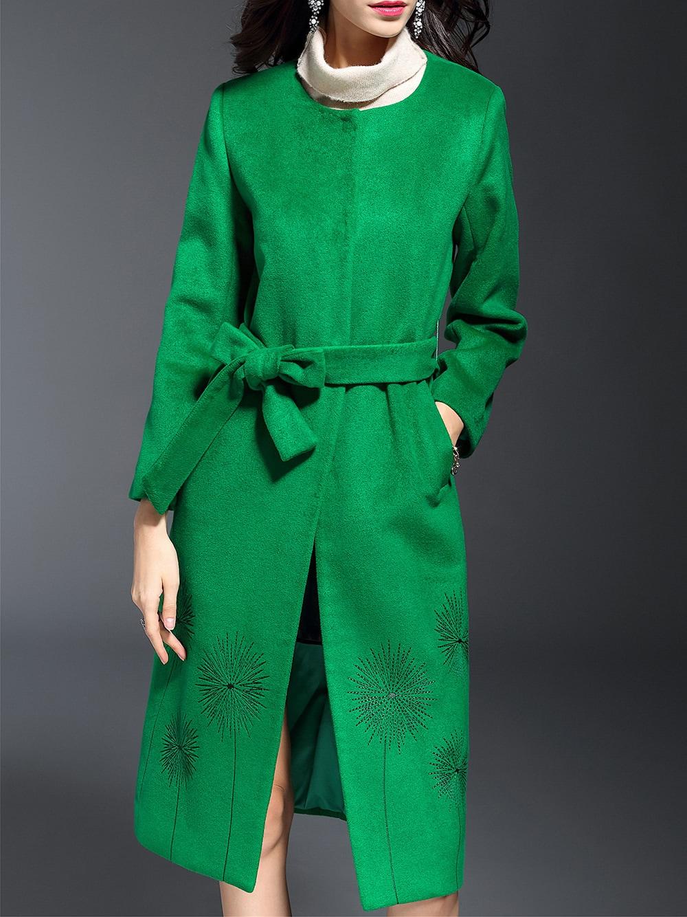 Фото Green Embroidered Tie-Waist Coat. Купить с доставкой