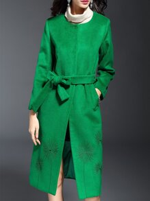 Green Embroidered Tie-Waist Coat