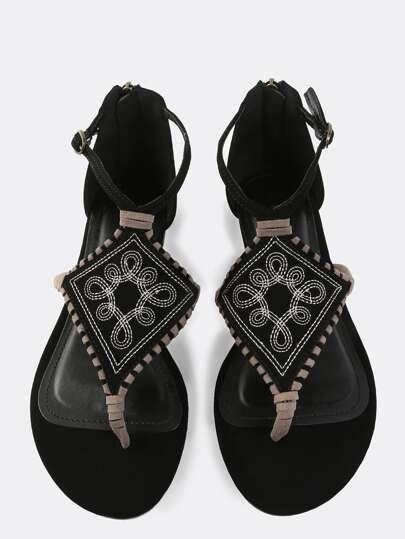 Diamond Thong Stitched Sandals BLACK