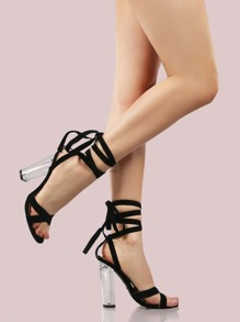 Suede Lace Up Crystal Heels BLACK