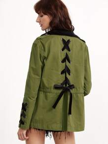 Olive Green Contrast Collar Lace Up Back And Cuff Utility Jacket
