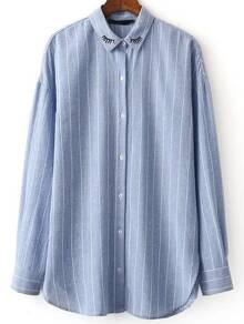Blue Vertical Striped Embroidery Detail Blouse