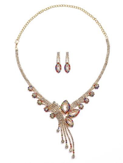 Set de bijoux tone multicolore strass incrusté -doré
