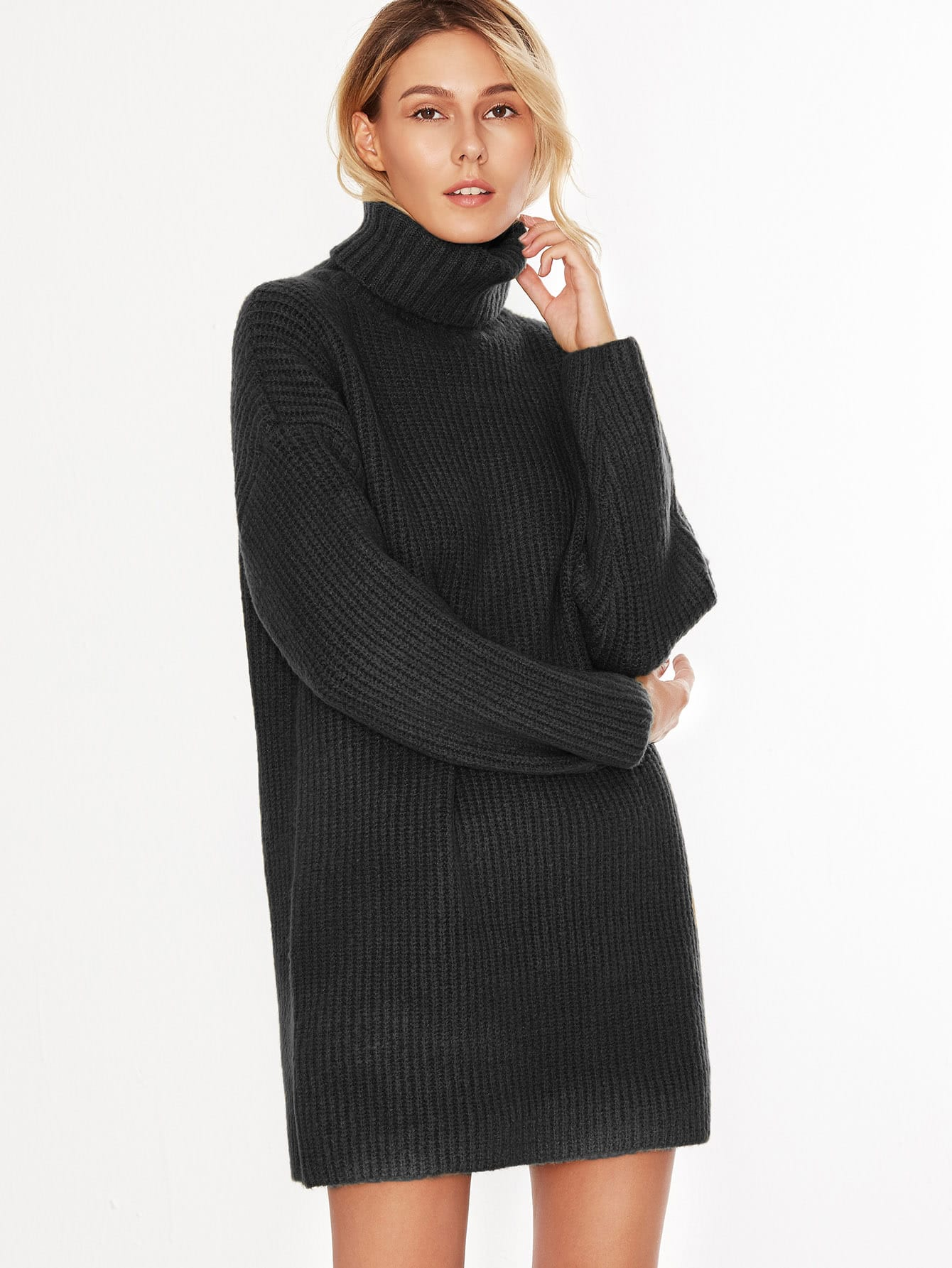 Black Turtleneck Drop Shoulder Sweater Dress -SheIn(Sheinside)