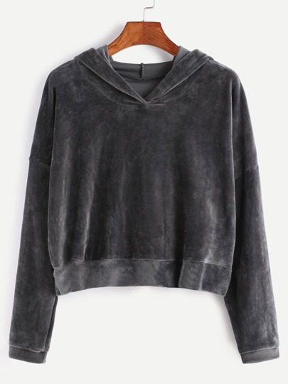 Dark Grey Hooded Drop Shoulder Crop Velvet Sweatshirt