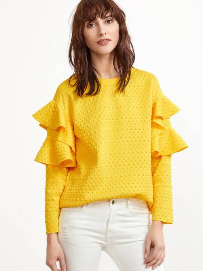 Yellow Polka Dot Embossed Layered Ruffle Sleeve Blouse