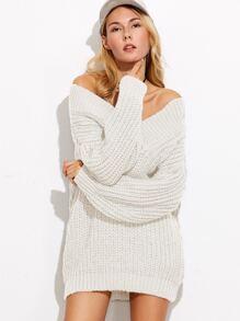 Pull à col V à l'épaule laissé tricot à larges mailles -blanc