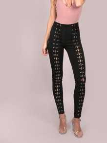 High Waisted Full Strapped Front Lace-Up Pants BLACK