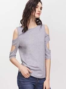 Cutout 3/4 Sleeve T-shirt